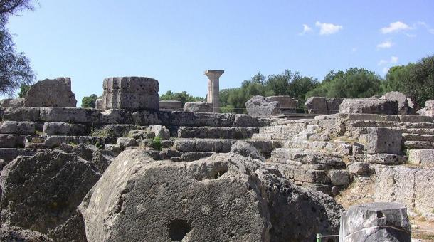 The remains of the Temple of Zeus today at Olympia, Greece. Photo by: troy mckaskle in 2011.