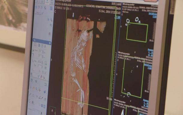 Computer imaging showing the remains of the fetus inside the tomb of Peder Winstrup.