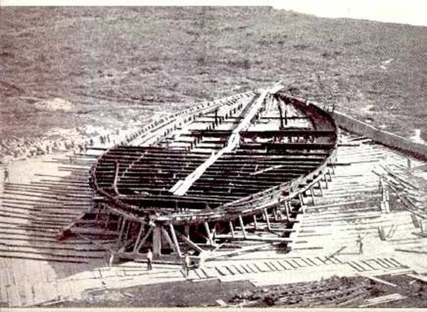 The remains of the hull of one of the two ships recovered from Lake Nemi. Workers in the foreground give an indication of scale.