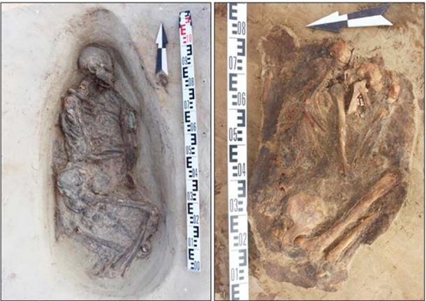 Male remains have the traces of fire. Two young women aged around 18 to 20 buried in foetal position.