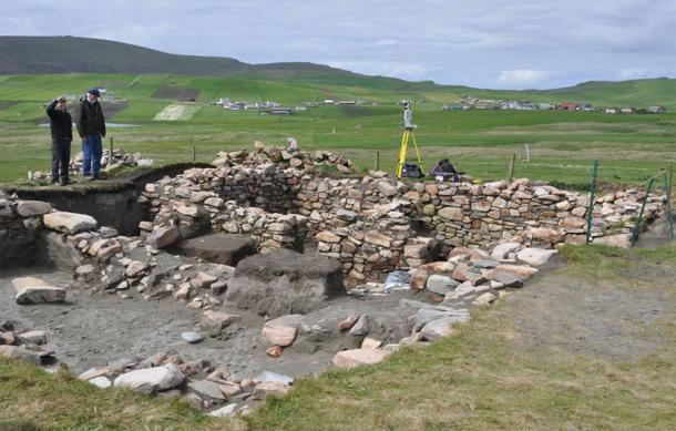 The remains of one of the dwellings unearthed in the Scottish ghost village of Broo. (UNAVCO)