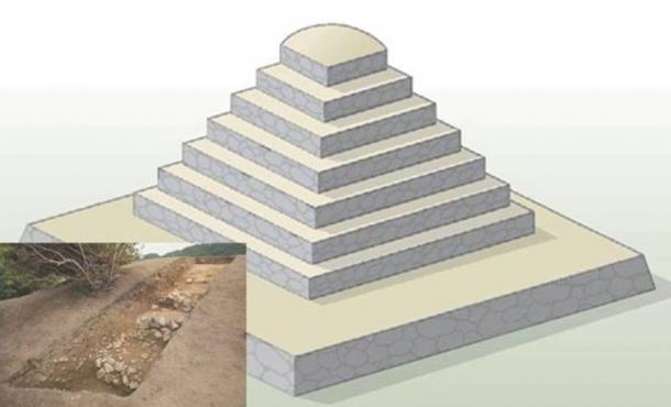 Artist's rendition of the Miyakozuka pyramid-shaped tomb.