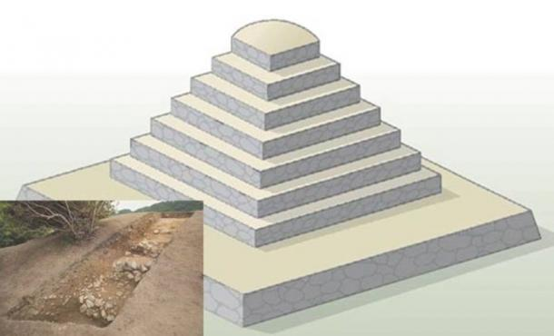 Artist's rendition of the Miyakozuka pyramid-shaped tomb.