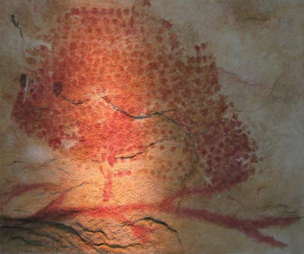 A replica of a Magdalenian cave painting from France depicting a bison, which were plentiful in Europe