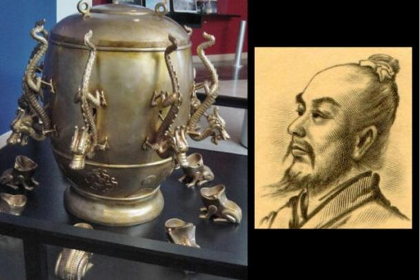 A replica of an ancient Chinese seismoscope from the Eastern Han Dynasty (25-220 A.D.), and its inventor, Zhang Heng.