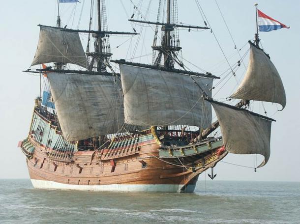 The replica of the Batavia, the ill-fated Dutch vessel.