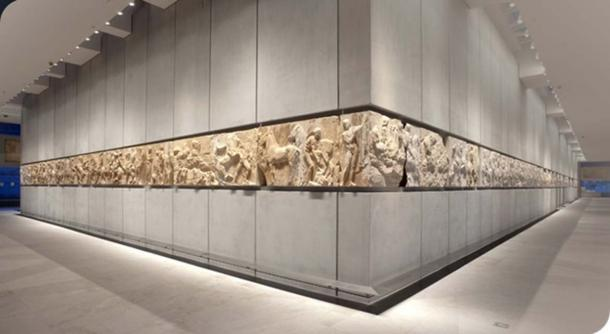 View of the replica west and south frieze of the Parthenon.