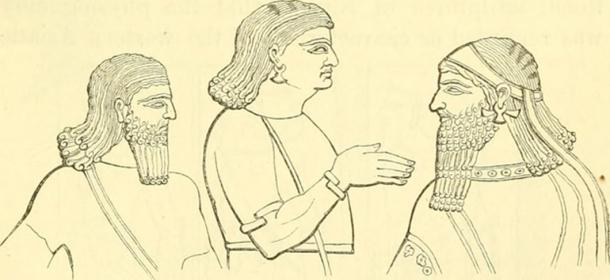 A drawing believed to represent Assyrians (a beardless eunuch in middle)