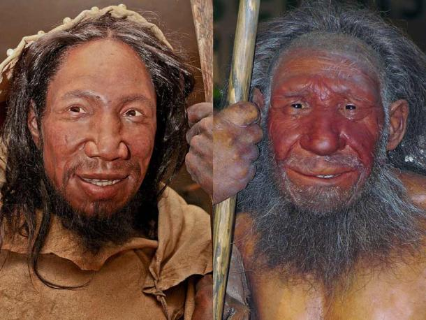 A modern human (left) and a Neanderthal (right). They look quite similar and now, based on the latest study, we know Neanderthal speech capabilities were not too different from those of modern humans. (Daniela Hitzemann (left photograph), Stefan Scheer (right photograph) / unknown (reconstructions) / CC BY-SA 4.0)