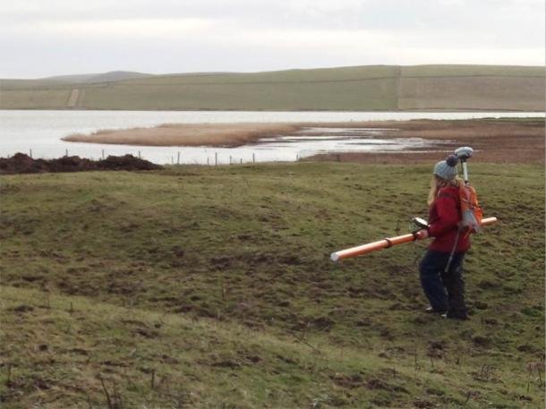 A researcher carrying out remote-sensing geophysical mapping on the Orkney Islands. (University of Saint Andrews)