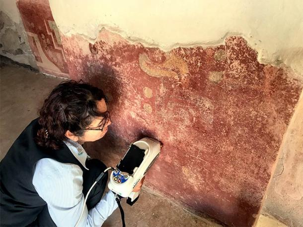 In this image a researcher is analyzing the stucco of a wall in the Quetzalpapálotl complex which resulted in the identification of plaster, a material that had also never been identified before in Mesoamerica. (Denisse Argote Espino / INAH)