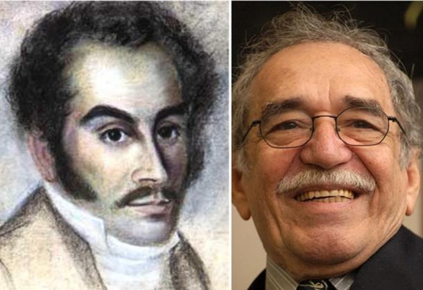 Two famous (temporary) residents of Zipaquirá: An 1816 pastel portrait of Simón Bolívar. Photo of Gabriel García Márquez