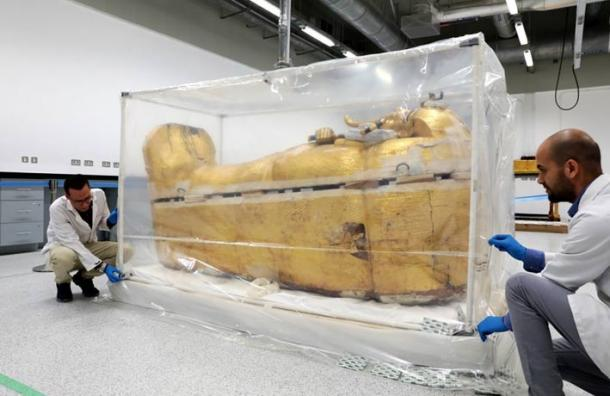 Immediate restoration work is needed due to deterioration of the outer coffin of King Tut