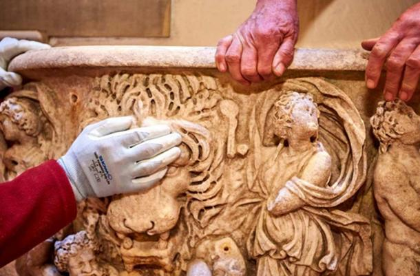 After restoration work, the Roman sarcophagus is very impressive.