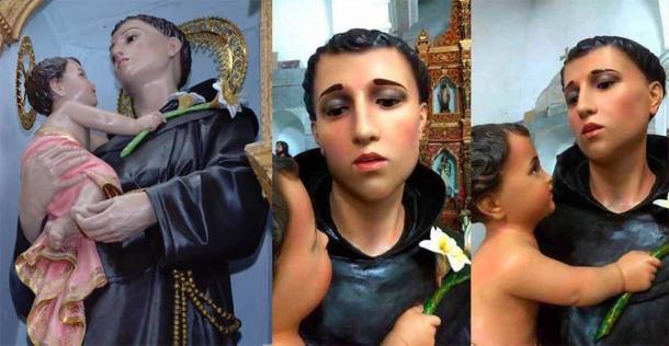 The 'restoration' of St. Anthony of Padua in Colombia. (Juan Duque via Artnet)
