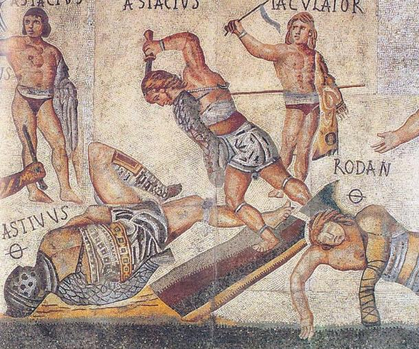 A retiarius attacks his downed opponent, a secutor, with a dagger in this scene from a mosaic from the Villa Borghese.