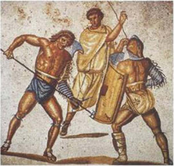A retiarius gladiator stabs at his secutor opponent with his trident. Mosaic from the villa at Nennig, 2nd-3rd century AD (Public Domain)