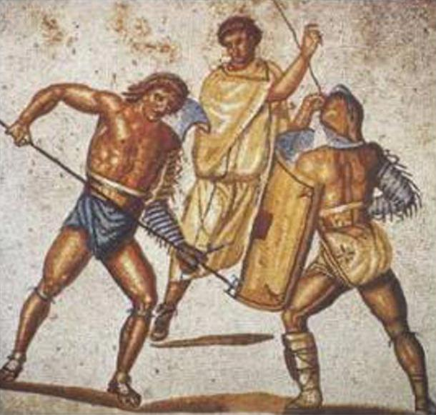 A retiarius stabs at a secutor with his trident in this mosaic from the villa at Nennig, Germany, c. 2nd–3rd century AD.