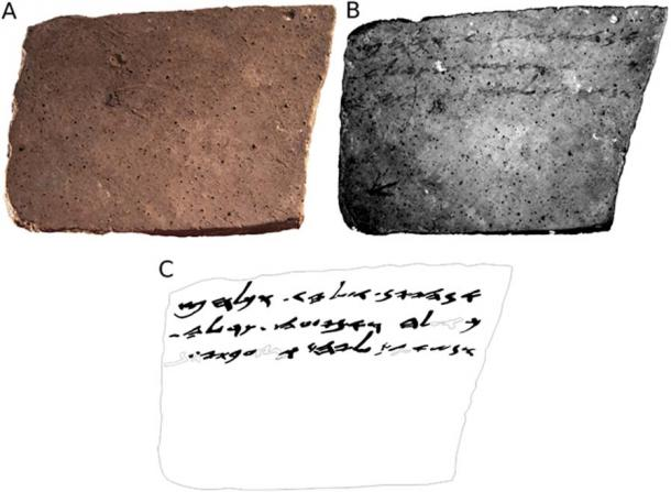 The reverse side of the ostracon