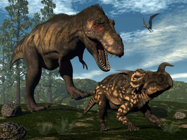 Tyrannosaurus rex atacando a un Einiosaurus. (Elenarts / Adobe Stock)