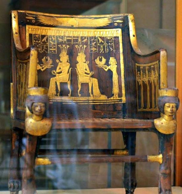 "The richly decorated wooden chair or ""throne"" of Princess Sitamun that was found in the tomb of her grandparents, Yuya and Tjuya. Egyptian Museum, Cairo."