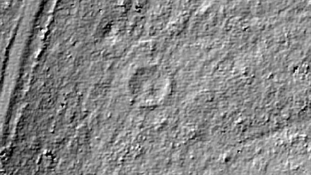The ring cairn can be seen here on the LiDAR scan. (Forestry Commission)