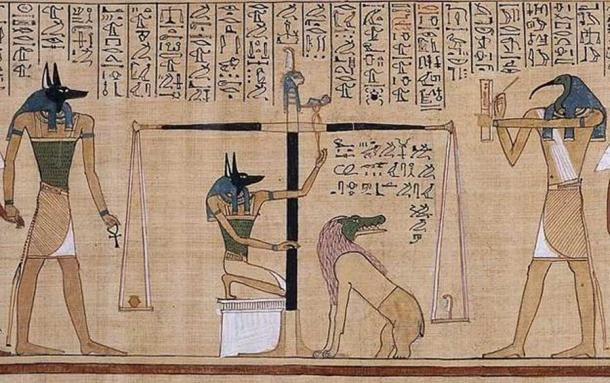 """Perhaps the most famous scene in the Book of the Dead, the """"Weighing of the Heart"""" ritual, performed by Anubis and recorded by Thoth, on the right. The heart of the supplicant (red) is placed on the Scales of Ma'at, or the """"Scales of Justice"""" to be weighed against a feather of truth. If a person's heart was """"heavy"""" with unrighteousness, it was devoured by Ammit, the crocodile-headed hybrid monster. If """"light"""" with purity, then the individual would live forever. This connection between the heart and righteousness was an ancient Egyptian feature and remains a modern Jewish one. From the Papyrus of Hunefer, now in the British Museum. (Public Domain)"""