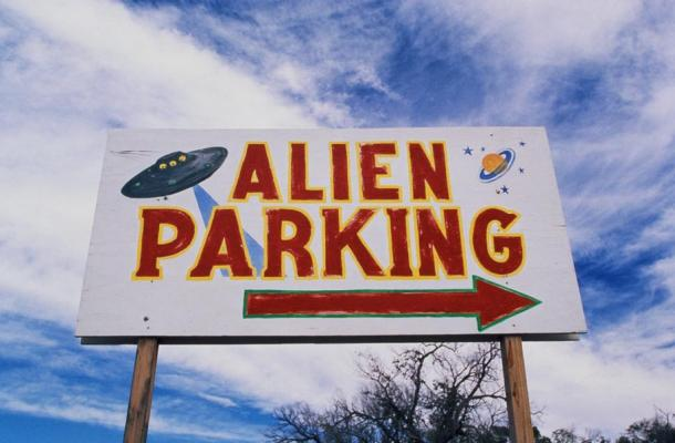 """This is a road sign near the original UFO crash site in Roswell. Hopefully, the secret Roswell journal of Major Jesse Marcel will reveal more about what """"really"""" happened in New Mexico on that day!"""