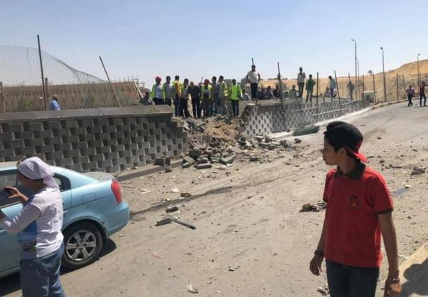 The roadside device exploded near to the new Grand Egyptian Museum. (Image: Twitter)
