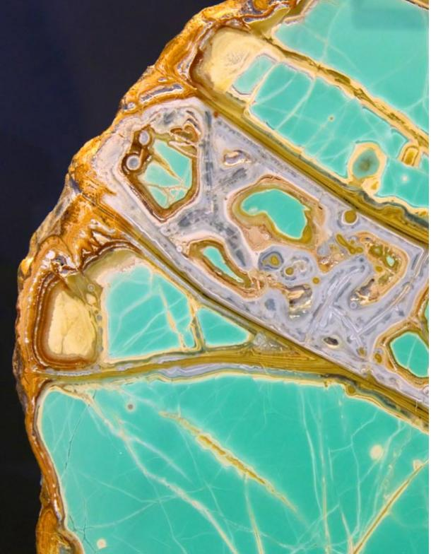 Cross-section of a stunning rock containing variscite