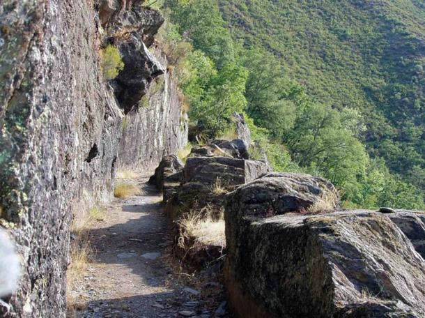 A rock-cut aqueduct in León, Spain