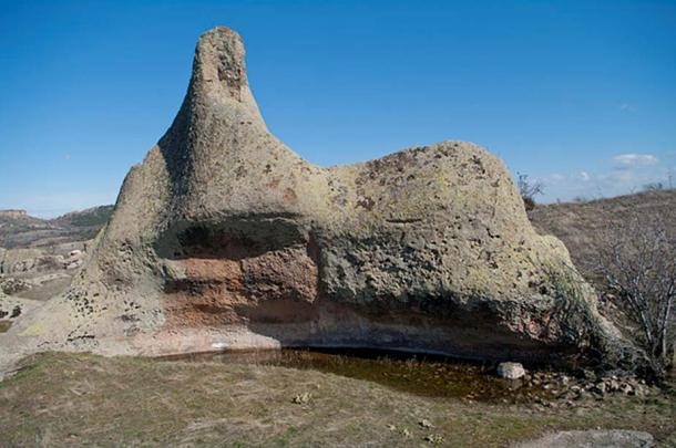 A rock formation at the top of Midas city ruins, Yazılıkaya village, Han - Eskişehir, Turkey.