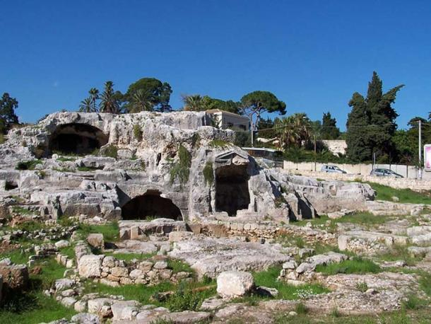 This rock-hewn tomb at Syracuse, reportedly that of Archimedes, is of a type found near the sundial in Gela, Sicily.