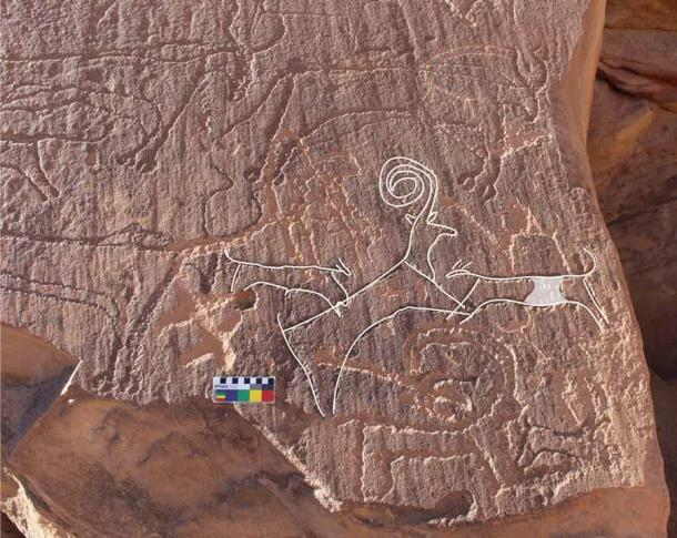 The rock panel found at Al'Ula depicts two dogs hunting an ibex, surrounded by cattle. Experts have dated the engravings to the late Neolithic, which would place it around the time of the recently excavated Saudi Arabian dog burial sites. (Royal Commission of Al-Ula)