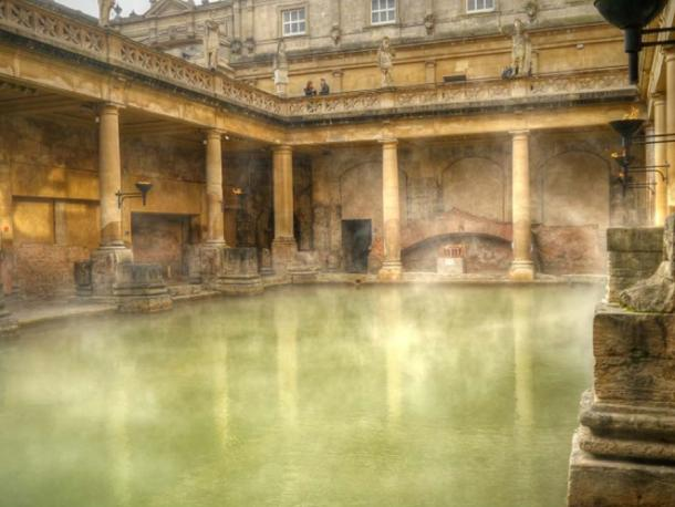 The magnificent centerpiece of the Roman baths at Bath is a pool, lined with 45 sheets of lead and filled with hot spa water. (David Dixon / CC BY-SA 2.0)