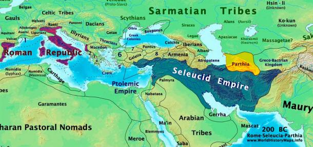 Rome, Parthia and Seleucid Empire in 200 BC. Soon both the Romans and the Parthians would invade the Seleucid-held territories and become the strongest states in western Asia. (Talessman / CC BY-SA 3.0)