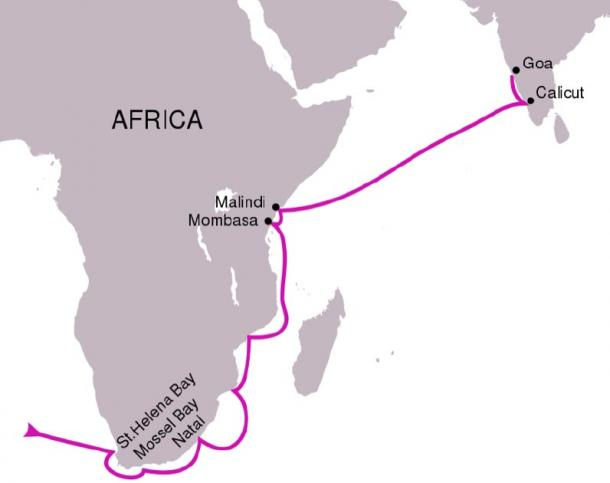 The route followed in Vasco da Gama's first voyage, 1497–1499. (PhiLip / CC BY-SA 4.0)