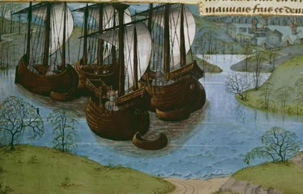Depiction of the royal fleet of King Edward I of England. From Jean de Wavrin's 'Chronicles of England'