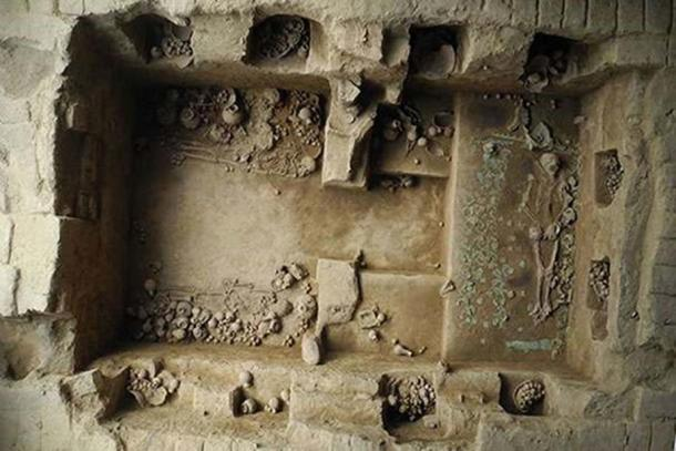 This royal tomb, the eighth discovered in 25 years, is said to have belonged to a Moche priestess buried 1,200 years ago. The great quantity of artifacts and the complexity of the burial reveal the power and influence this woman wielded in life. (Luis Castillo)