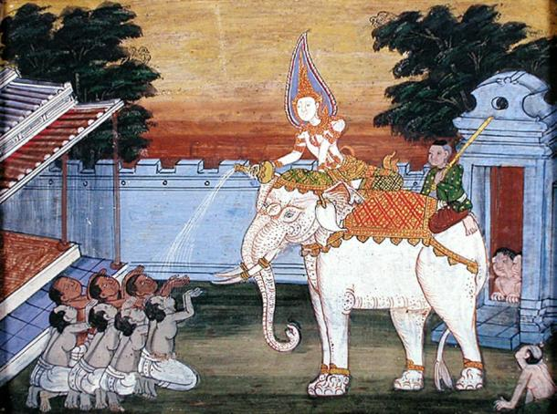 A royal white elephant in a Thai painting from the Vessantara Jataka.