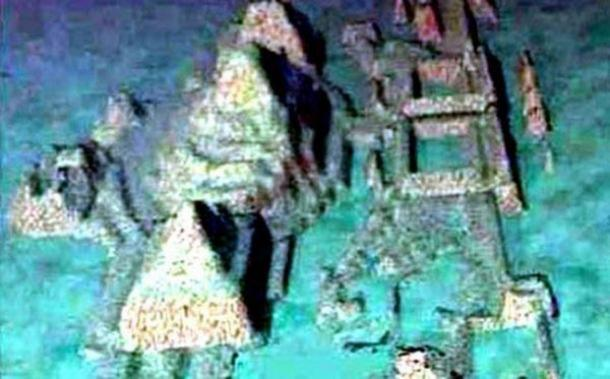 Reconstructed image of ruins from the sonar scan of the sea floor off the coast of Cuba.