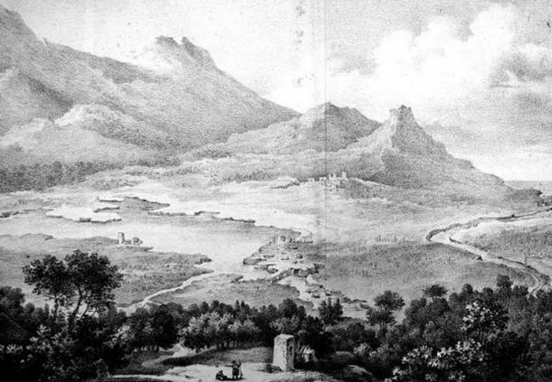 The ruins of Amphipolis as envisaged by E. Cousinéry in 1831: the bridge over the Strymon, the city fortifications, and the acropolis.
