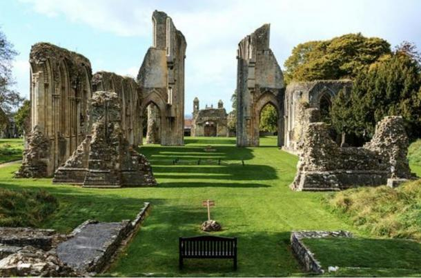 The ruins of Glastonbury Abbey in Somerset, England.