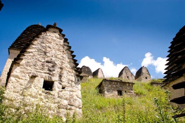 Close-up image of building, ruins of settlement, Dargavs, Russia