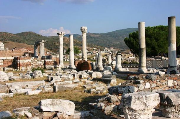 The ruins of the Basilica of John the Apostle in Ephesus (Turkey).