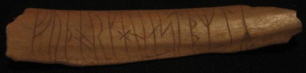 This runic inscription has been carved into bone. Found in Sweden.