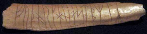 Runic inscription carved into bone. Found in Sweden.