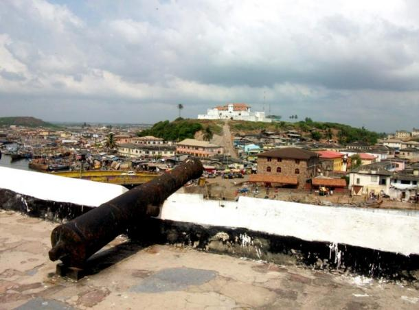 One of the rusted cannons still visible today, Elmina Castle, Ghana