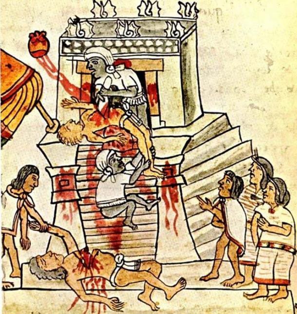Aztec ritual human sacrifice portrayed on page 141 (folio 70r) of the Codex Magliabechiano. (Public Domain)