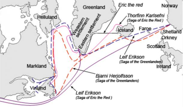 Graphical description of the different sailing routes to Greenland, Vinland (Newfoundland), Helluland (Baffin Island) and Markland (Labrador) travelled by different characters in the Icelandic Sagas, mainly the Saga of Erik the Red and the Saga of the Greenlanders.